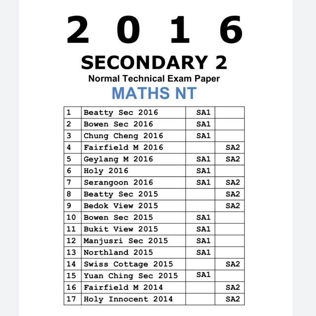 Free Secondary 1 Exam Papers