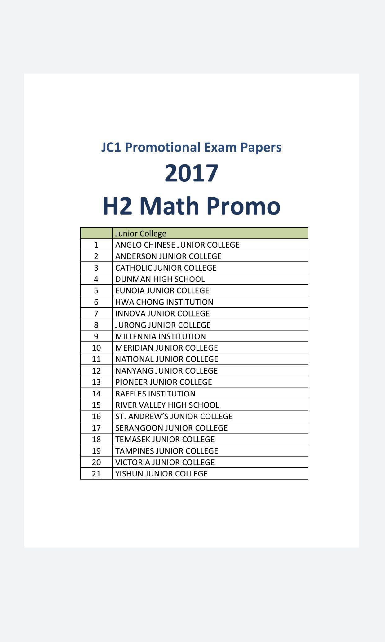 2017 A Level Junior College JC1 H2 Maths Promotional Exam Papers ...