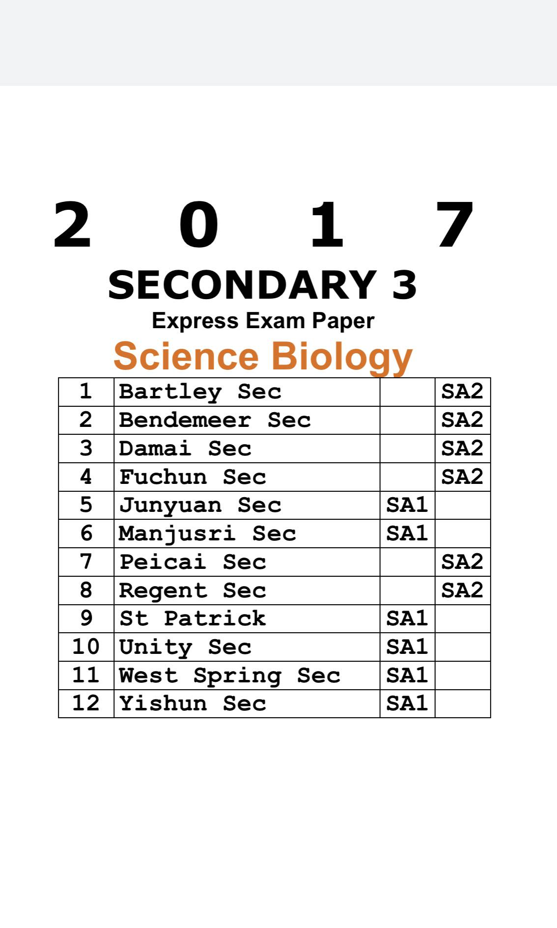 Sec 3 Biology Papers