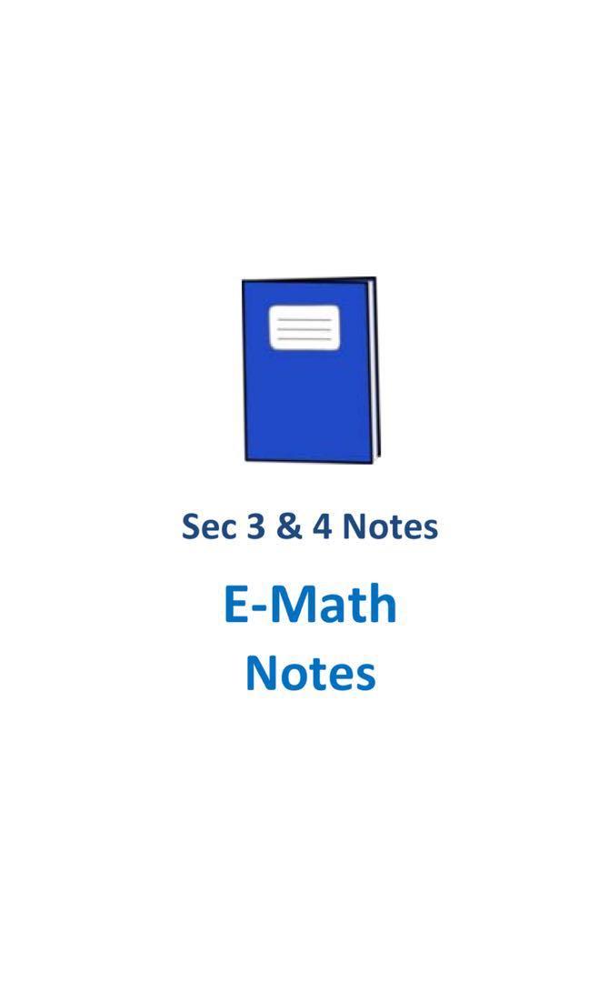 "2017 Cedar Sec 3 & 4 Mathematics ""E-Math"" Study Notes (soft copy ..."