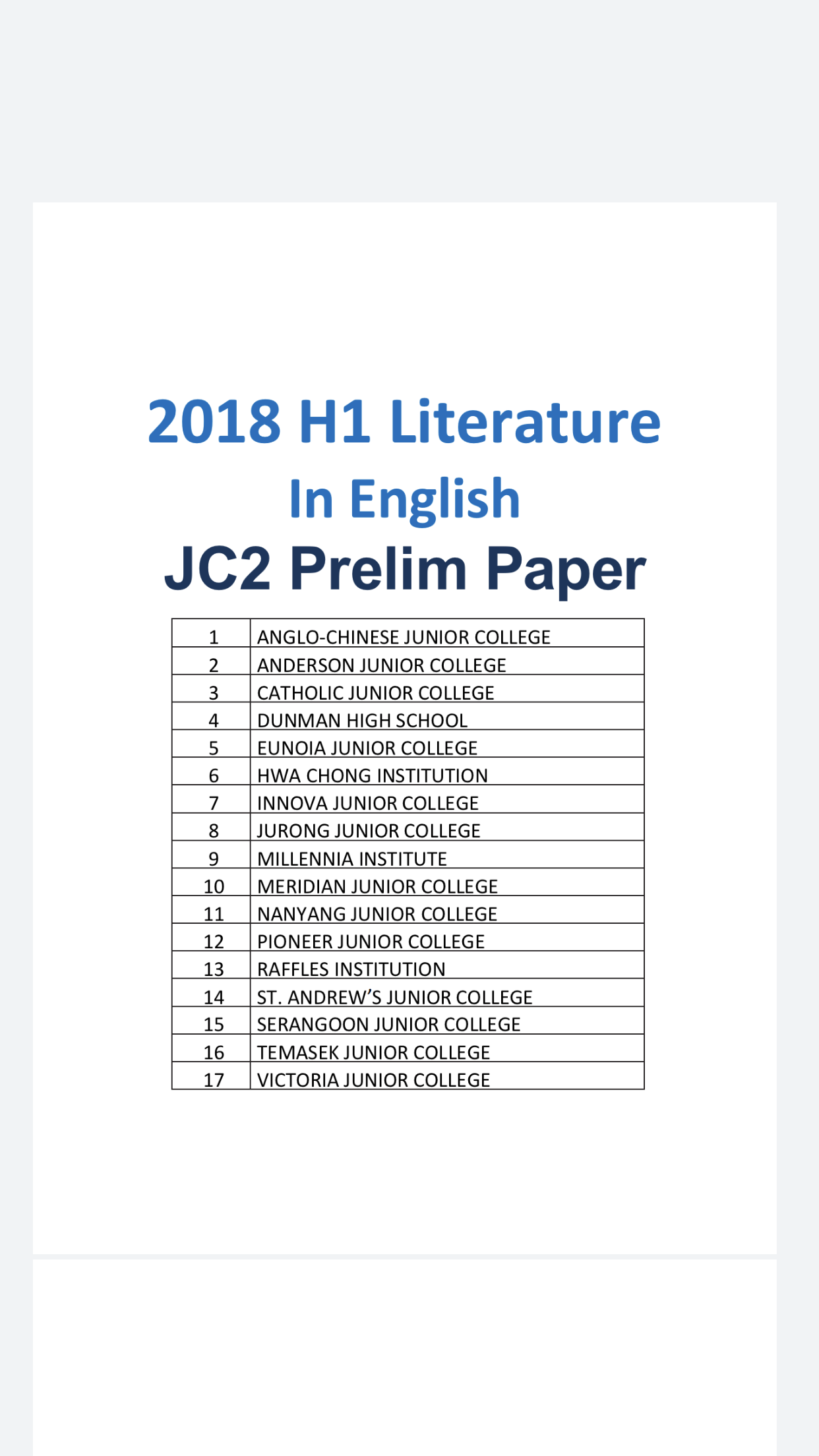 2018 a level jc h1 literature in english prelim exam papers  soft copy